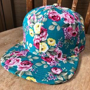 Teal floral Snap Back Hat